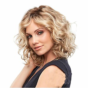 cheap Synthetic Trendy Wigs-Synthetic Wig Curly Matte Middle Part Wig Long Light golden Synthetic Hair 14 inch Women's Middle Part curling Fluffy Blonde