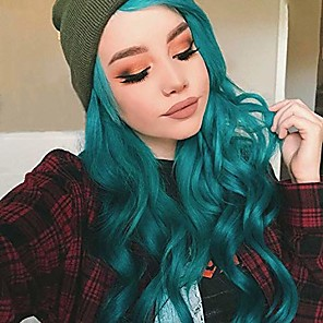 cheap Cycling Jerseys-Synthetic Lace Front Wig Wavy Middle Part Lace Front Wig Ombre Long Ombre Green Synthetic Hair 18-26 inch Women's Cosplay Soft Party Green Ombre