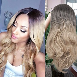 cheap Synthetic Trendy Wigs-Synthetic Wig Curly Middle Part Wig Very Long Black / Gold Synthetic Hair 26 inch Women's Ombre Hair curling Waterfall Blonde