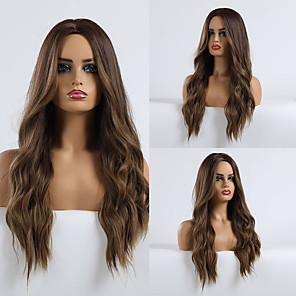 cheap Synthetic Trendy Wigs-Synthetic Wig Matte Water Wave Minaj Deep Parting Wig Long Light Brown Synthetic Hair 26 inch Women's Women Adorable Ombre Hair Light Brown EMMOR