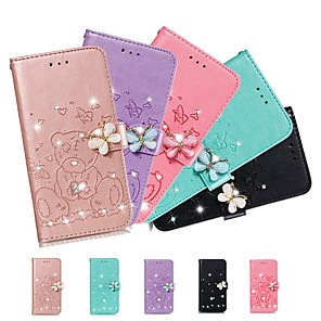 cheap Samsung Case-Case For Samsung Galaxy A51/Galaxy S20 Ultra/Galaxy Note 10 Plus Wallet / Rhinestone / with Stand Full Body Cases Solid Colored PU Leather For Galaxy A71/A01/A21/A81/A91/A10S/A20S/A30S/A50S/A50/A70