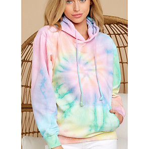 cheap Wall Stickers-Women's Pullover Hoodie Sweatshirt Tie Dye Basic Hoodies Sweatshirts  Rainbow
