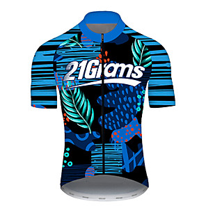 cheap Cycling Jerseys-21Grams Men's Short Sleeve Cycling Jersey Spandex Polyester Blue Stripes Bike Jersey Top Mountain Bike MTB Road Bike Cycling UV Resistant Breathable Quick Dry Sports Clothing Apparel / Stretchy