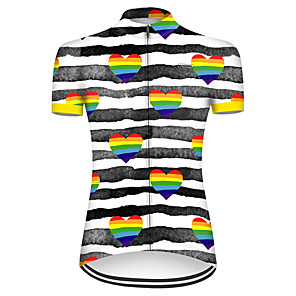 cheap Cycling Jerseys-21Grams Women's Short Sleeve Cycling Jersey Nylon Polyester Black / White Stripes Heart Bike Jersey Top Mountain Bike MTB Road Bike Cycling Breathable Quick Dry Ultraviolet Resistant Sports Clothing