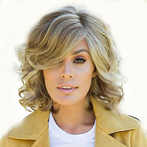 cheap Synthetic Trendy Wigs-Synthetic Wig Curly Asymmetrical Wig Short Light golden Synthetic Hair 12 inch Women's Fashionable Design Easy dressing curling Black