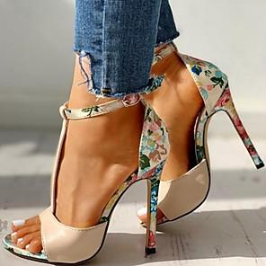 cheap Women's Sandals-Women's Sandals Summer Stiletto Heel Open Toe Daily PU Black / Red / Beige