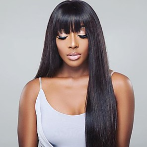cheap Human Hair Capless Wigs-18 Inches Remy Human Hair Lace Front Wig Neat Bang style Indian Hair Yaki Straight Black Wig 130% Density with Baby Hair Lace Natural Hairline with Clip Glueless Women's Long Human Hair Lace Wig