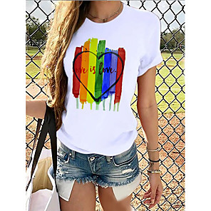 cheap iPhone Cases-Women's Rainbow Graphic Pride Day Print T-shirt Basic Casual / Daily White