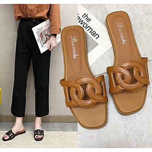 cheap Women's Sandals-Women's Sandals Flat Sandal Summer Low Heel Round Toe Daily PU White / Black / Brown