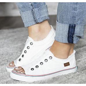 cheap Women's Sandals-Women's Sandals Flat Sandal Summer Flat Heel Peep Toe Daily Canvas Almond / White / Blue