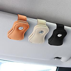 cheap Car Body Decoration & Protection-Universal Leather car glasses clip Car Sun Visor Clips Holder Auto Sunglasses Glass Card Tickets Storage
