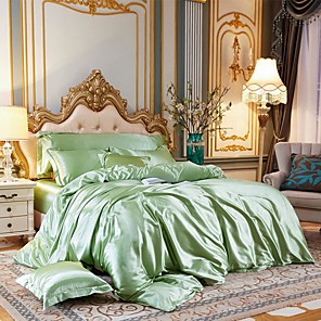 cheap Solid Duvet Covers-Four-piece Duvet Cover Set of silk bed linen washed with ice silk in summer