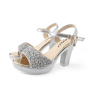 cheap Women's Sandals-Women's Sandals Summer Block Heel Open Toe Daily Outdoor Sequin PU Black / Gold / Silver