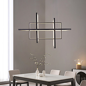 cheap Flush Mounts & Semi Flush Mounts-4-Light 85cm LED Pendant Light Linear Frame Aluminum Acrylic Matte Rectangular Design 100W/80W 3-Light Gold Silver Black Dimmable with Remote Control