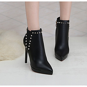 cheap Women's Heels-Women's Boots Fall & Winter Stiletto Heel Round Toe Daily PU Mid-Calf Boots Black / Red