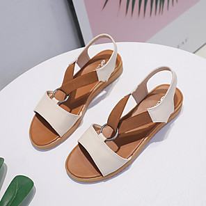 cheap Women's Sandals-Women's Sandals Flat Sandal 2020 Spring &  Fall / Spring & Summer Flat Heel Open Toe Casual Minimalism Daily Outdoor PU White / Black / Beige
