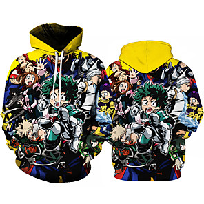 cheap Everyday Cosplay Anime Hoodies & T-Shirts-Inspired by My Hero Academia Boko No Hero Cosplay Costume Hoodie Polyster Print Printing Hoodie For Men's / Women's