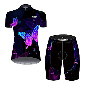 cheap Cycling Jersey & Shorts / Pants Sets-Women's Short Sleeve Cycling Jersey with Shorts Black / Red Butterfly Bike Breathable Quick Dry Sports Butterfly Mountain Bike MTB Road Bike Cycling Clothing Apparel / Micro-elastic