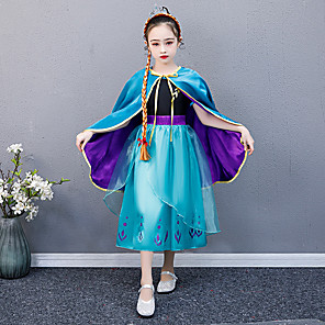 cheap Movie & TV Theme Costumes-Princess Anna Dress Outfits Flower Girl Dress Girls' Movie Cosplay A-Line Slip Blue Dress Cloak Children's Day Masquerade Tulle Polyester