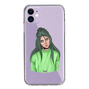 cheap iPhone Cases-Case For Apple iPhone 11/11 Pro/11 Pro Max/XS/XR/XS Max/8 Plus/7 Plus/8/7/6/6s Transparent Billie Eilish Green Pattern Fall Proof Back Cover Soft PC+TPU