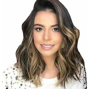 cheap Synthetic Trendy Wigs-Synthetic Wig Curly Asymmetrical Wig Long Black / Brown Synthetic Hair 16 inch Women's Highlighted / Balayage Hair curling Fluffy Brown