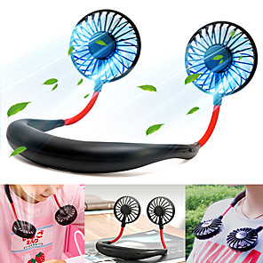 cheap LED Bi-pin Lights-Hanging Personal Portable Neck Fan, Hands Free Rechargeable Mini USB Battery Operated Fan 2000mA USB Portable Fan with 3 Speed, 360° Free Rotation, 4 Colors of LED Light Conversion for Office Home