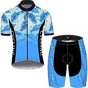 cheap Cycling Jersey & Shorts / Pants Sets-21Grams Men's Short Sleeve Cycling Jersey with Shorts Black / Blue Floral Botanical Bike UV Resistant Quick Dry Sports Patterned Mountain Bike MTB Road Bike Cycling Clothing Apparel / Stretchy