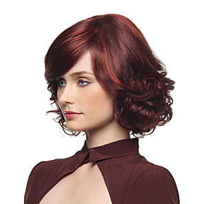 cheap Synthetic Trendy Wigs-Synthetic Wig Curly Asymmetrical Wig Short Burgundy Synthetic Hair 12 inch Women's Simple Fashionable Design Women Burgundy