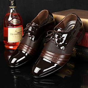 cheap Men's Oxfords-Men's Dress Shoes Derby Shoes Spring / Fall Business / Classic / British Daily Office & Career Oxfords PU Breathable Wear Proof Brown / Black Color Block / EU40