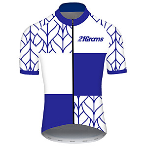 cheap Cycling Jerseys-21Grams Men's Short Sleeve Cycling Jersey Spandex Polyester Blue and White Stripes Bike Jersey Top Mountain Bike MTB Road Bike Cycling UV Resistant Breathable Quick Dry Sports Clothing Apparel