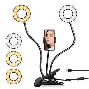 cheap Ring Lights-Selfie Double Ring Light With Long Arm Lazy Mobile Phone Holder Bracket Photography ringlight LED Light For Youtube tik tok Live Stream