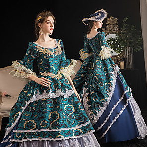 cheap Historical & Vintage Costumes-Maria Antonietta Retro Vintage Rococo Medieval Dress Felt Hats Kentucky Derby Hat Women's Costume Blue Vintage Cosplay Event / Party Prom 3/4-Length Sleeve Floor Length Ball Gown