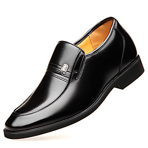 cheap Men's Sneakers-Men's Fall / Spring & Summer Business / Classic Wedding Daily Loafers & Slip-Ons Walking Shoes Leather Height-increasing Wear Proof Brown / Black