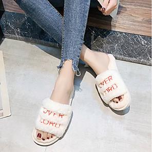 cheap Women's Sandals-Women's Slippers & Flip-Flops Fuzzy Slippers Fall / Winter Flat Heel Open Toe Daily Faux Fur Black / Pink / Beige