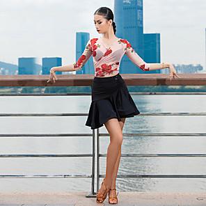 cheap Latin Dancewear-Latin Dance Top Pattern / Print Ruching Women's Performance 3/4 Length Sleeve Tulle