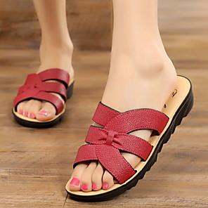cheap Women's Sandals-Women's Sandals Flat Sandal Summer Flat Heel Open Toe Daily PU Red / Brown / Coffee