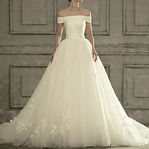 cheap Eyeshadows-Ball Gown Wedding Dresses Off Shoulder Court Train Satin Tulle Short Sleeve Formal Elegant with Appliques 2020