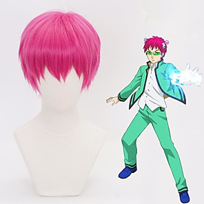 cheap Costume Wigs-Cosplay Costume Wig Cosplay Wig Saiki Kusuo no Psi Nan Straight With Bangs Wig Pink Short Pink Synthetic Hair 12 inch Men's Anime Cosplay Lovely Pink