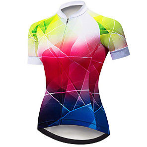 cheap Cycling Jerseys-21Grams Women's Short Sleeve Cycling Jersey Spandex Polyester Red+Blue Plaid Checkered Bike Jersey Top Mountain Bike MTB Road Bike Cycling UV Resistant Breathable Quick Dry Sports Clothing Apparel