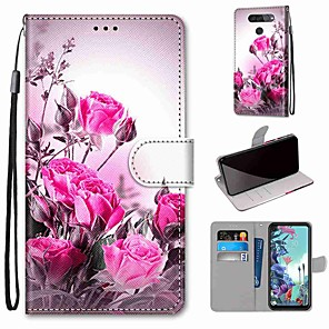 cheap Other Phone Case-Case For LG Q70 / LG K50S / LG K40S Wallet / Card Holder / with Stand Full Body Cases Wild Rose PU Leather / TPU for LG K30 2019 / LG K20 2019
