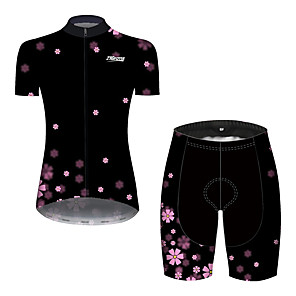 cheap Triathlon Clothing-21Grams Women's Short Sleeve Cycling Jersey with Shorts Black / Red Bike Breathable Quick Dry Sports Patterned Mountain Bike MTB Road Bike Cycling Clothing Apparel / Micro-elastic