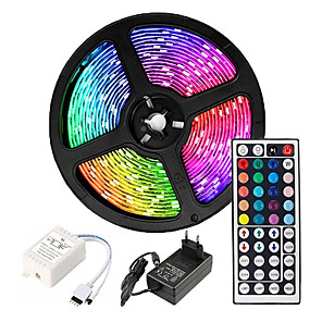 cheap LED Strip Lights-5m Flexible LED Strip Lights Light Sets RGB Tiktok Lights 3528 SMD 8mm RGB Remote Control / RC / Cuttable / Dimmable 100-240 V / Linkable / Self-adhesive / Color-Changing / IP44