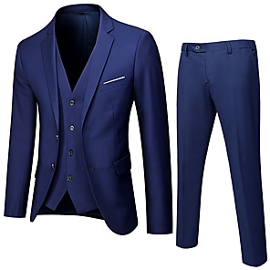 cheap Custom Suits-Tuxedos Standard Fit Notch Single Breasted Two-buttons Polyester Solid Colored