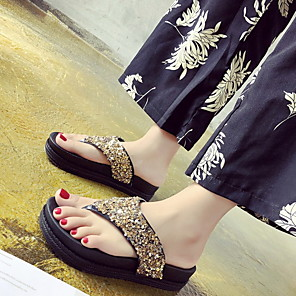 cheap Women's Sandals-Women's Sandals Flat Sandals Summer Flat Heel Open Toe Daily PU Black / Gold / Silver