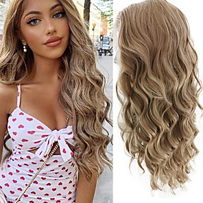 cheap Human Hair Wigs-Synthetic Lace Front Wig Wavy Free Part Lace Front Wig Blonde Long Blonde Synthetic Hair 18-26 inch Women's Cosplay Soft Adjustable Blonde