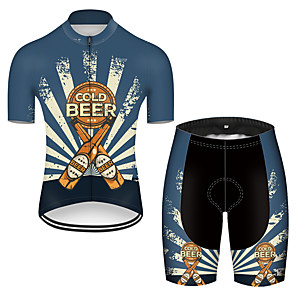 cheap Cycling Jersey & Shorts / Pants Sets-21Grams Men's Short Sleeve Cycling Jersey with Shorts Nylon Polyester Black / Blue Retro Oktoberfest Beer Bike Clothing Suit Breathable 3D Pad Quick Dry Ultraviolet Resistant Reflective Strips Sports