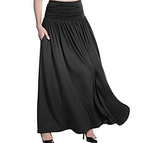 cheap Women's Heels-Women's Maxi A Line Skirts - Solid Colored Black Fuchsia Light gray S M L