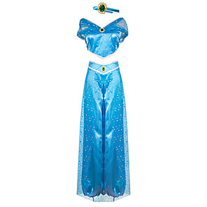 cheap Movie & TV Theme Costumes-Princess Princess Jasmine Cosplay Costume Outfits Women's Movie Cosplay Cosplay Halloween Blue Top Pants Children's Day Masquerade Tulle Polyester