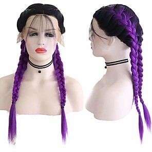 cheap Synthetic Lace Wigs-Synthetic Lace Front Wig Box Braids Middle Part with Baby Hair Lace Front Wig Ombre Long Ombre Purple Synthetic Hair 18-26 inch Women's Soft Adjustable Party Purple Ombre