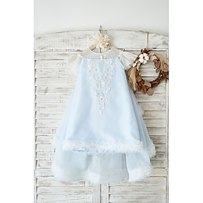 cheap Girls' Dresses-A-Line Knee Length Wedding / Birthday Flower Girl Dresses - Tulle Cap Sleeve Jewel Neck with Pearls / Appliques